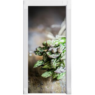 Fresh Crunchy Asparagus On A Wooden Table Door Sticker By East Urban Home