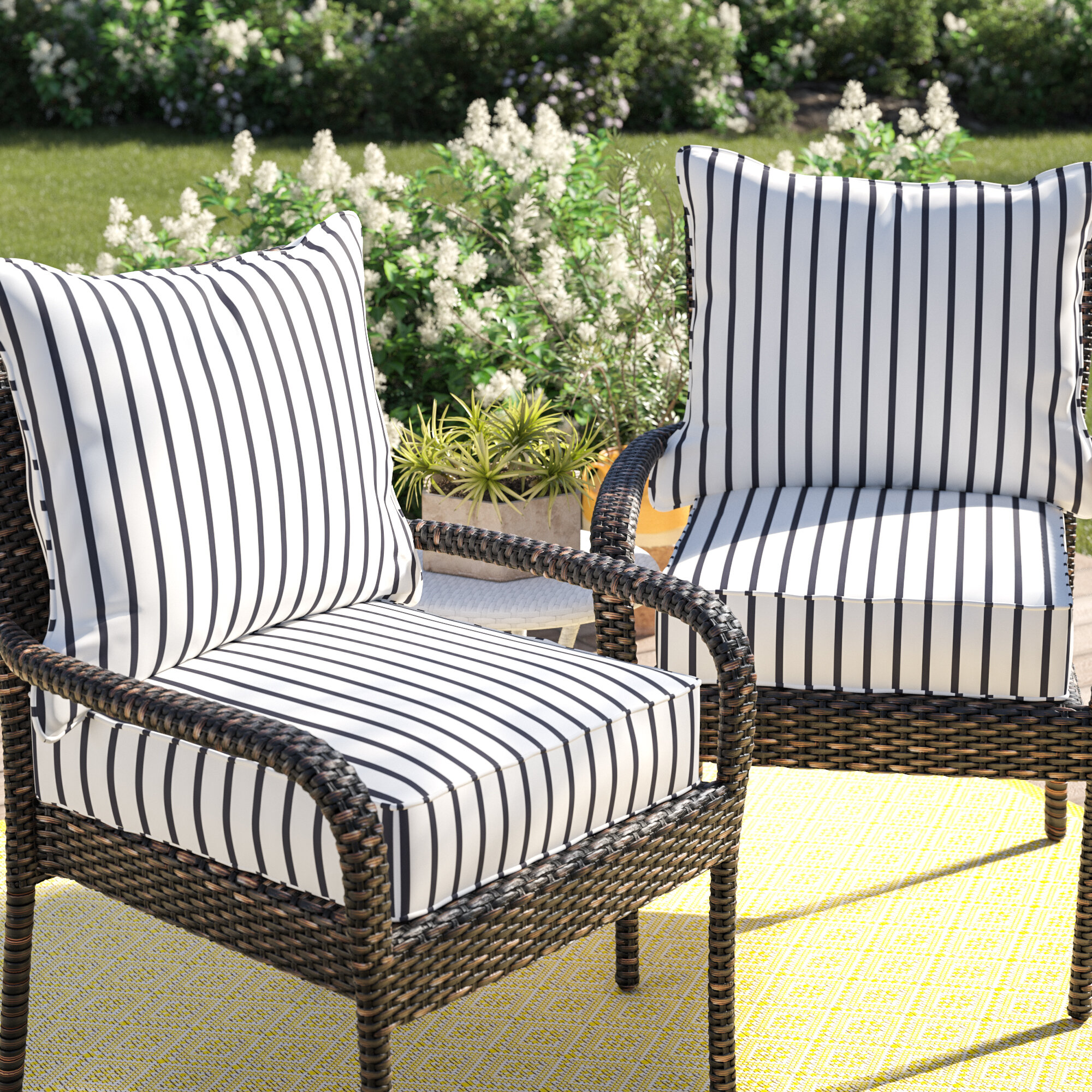 Mercer41 Whitten Stripe Outdoor Sunbrella Seat Back Cushion Reviews