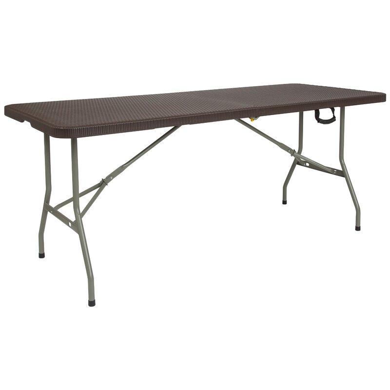 flash furniture bi fold 71 rectangular folding table wayfair