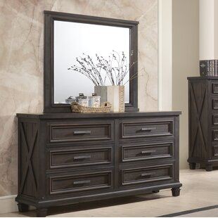 Gracie Oaks Cormac 6 Drawers Double Dresser with Mirror Image