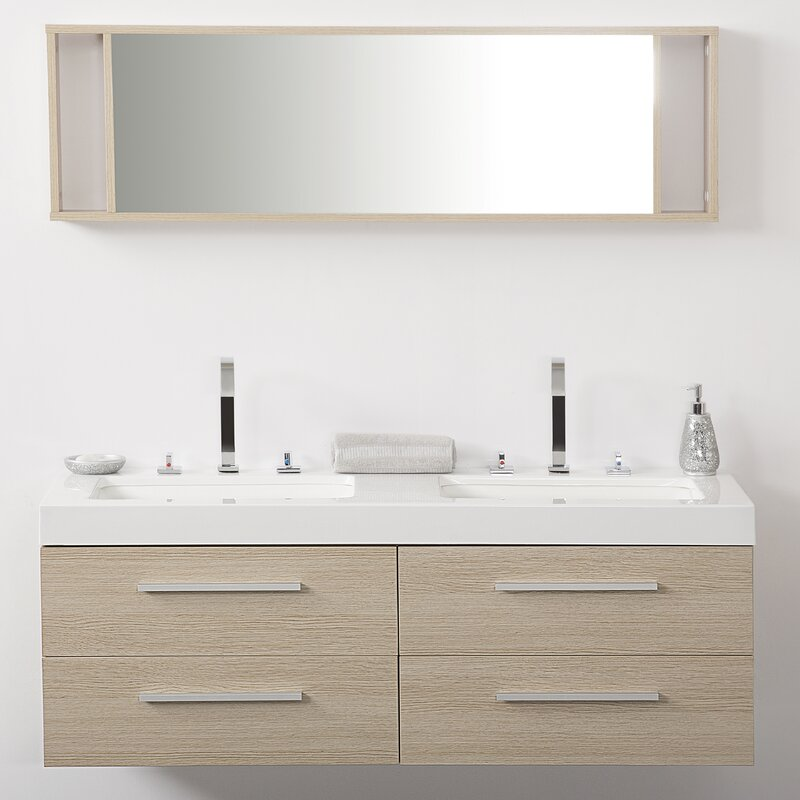 Caracella Cm Wall Mounted Double Sink Vanity Unit Wayfaircouk - Sink with vanity unit