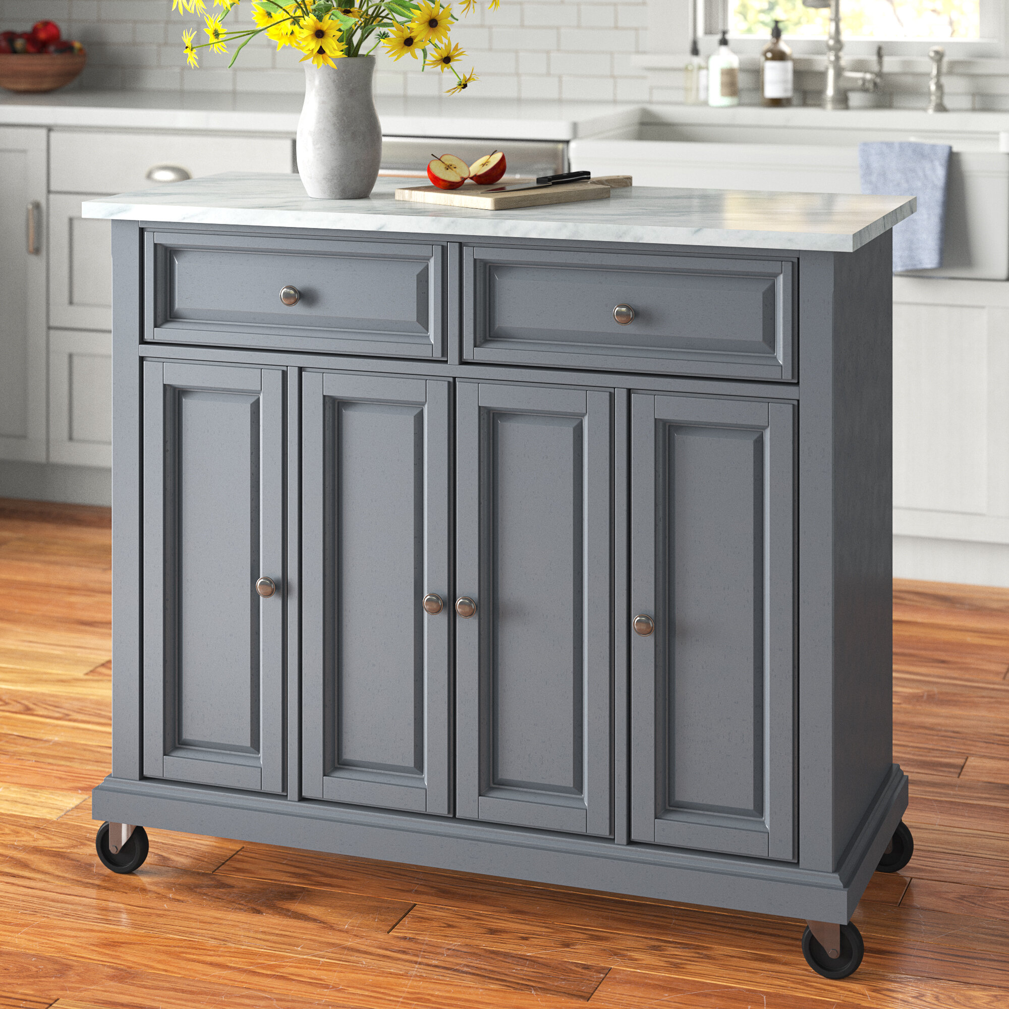 Andover Mills Moser Kitchen Island With Faux Marble Top Reviews