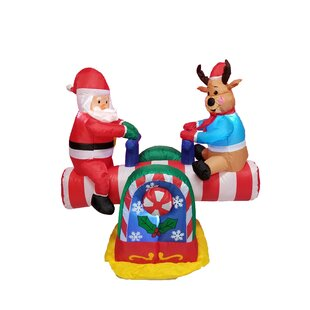 4 foot animated santa clause and reindeer teeter totter inflatable - Animated Lighted Reindeer Christmas Decoration
