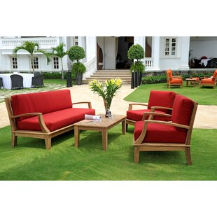 Darby Home Co Bainum Teak 4 Piece Sunbrella Sofa Set with Cushions