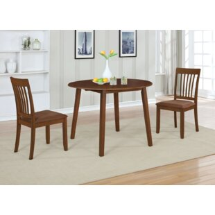 Innes 3 Piece Drop Leaf Solid Wood Dining Set Ebern Designs