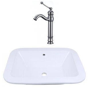 Best Deals Ceramic Rectangular Drop-In Bathroom Sink with Faucet and Overflow ByRoyal Purple Bath Kitchen