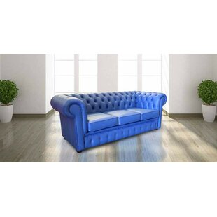Dominique Thomas Genuine Leather 3 Seater Chesterfield Sofa By 17 Stories