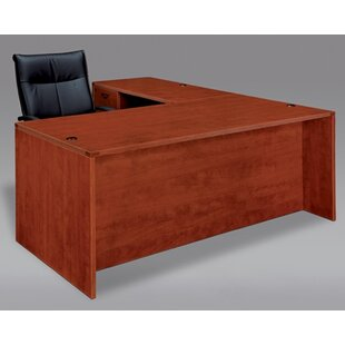 Fairplex Solid Wood L-Shape Executive Desk by Flexsteel Contract Cool