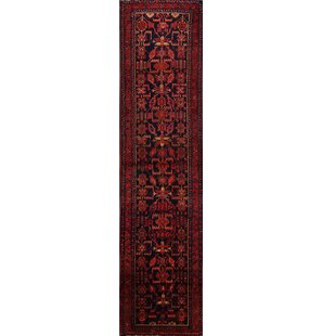 One-of-a-Kind Jarosz Geometric Tribal Nahavand Hamedan Palace Hand-Knotted Runner 3'9 x 16'2 Wool Black/Burgundy Area Rug Isabelline