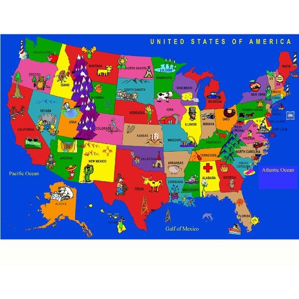 Kids World Fun Learning USA Cartoon Map Area Rug Reviews Wayfair - Usa map cartoon
