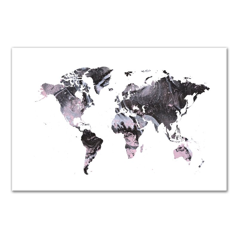 pink black marble world map acrylic painting print
