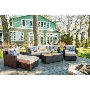 Rosecliff Heights Darden 8 Piece Rattan Sofa Seating Group with Cushions