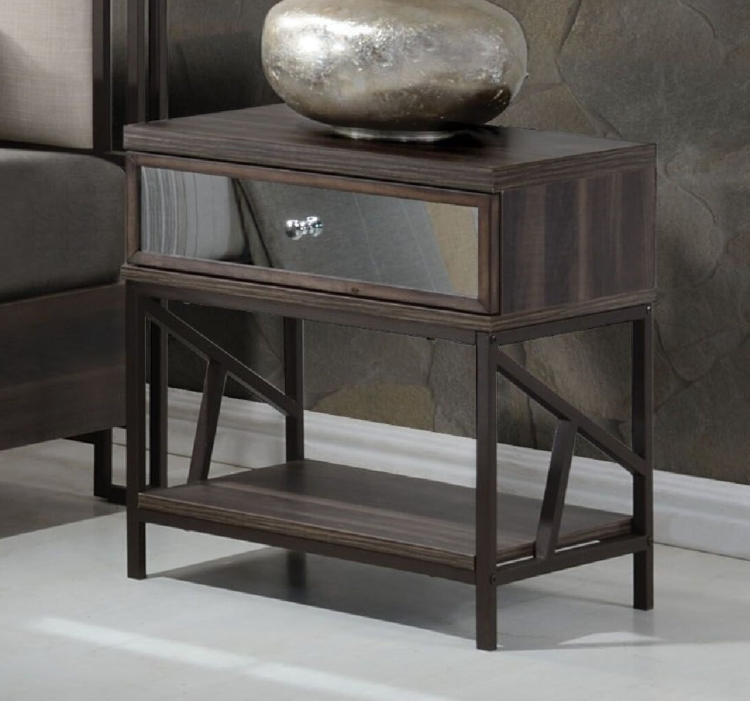 South Ferry Metal Base 1 Drawer Nightstand