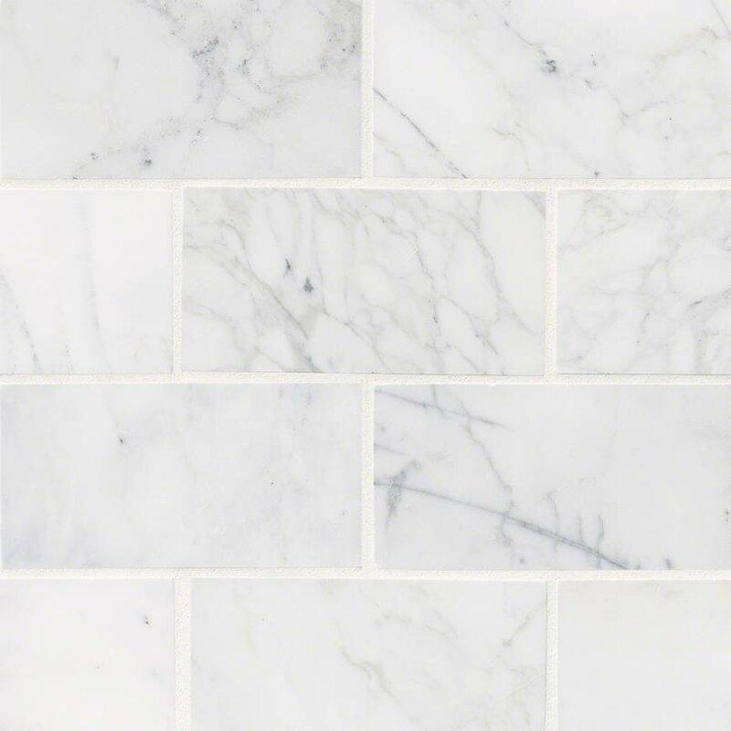 "Calacatta Cressa Honed 3"" x 6"" Marble Subway Tile in White"
