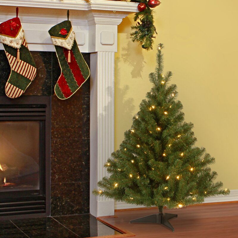 Three Posts 4' Green Artificial Christmas Tree with 100 Clear Lights ...