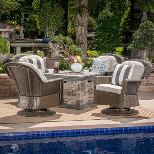 Rossville 5 Piece Rattan Conversation Set with Cushions
