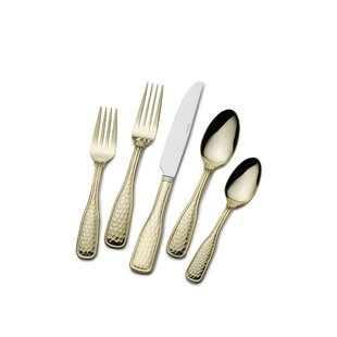 Gold Plated Country Hammered 45-Piece Flatware Set