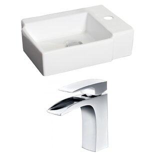 Reviews Ceramic 17 Wall Mount Bathroom Sink with Faucet By American Imaginations