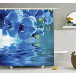 Auburn Orchids Asian Natural Flowers Reflections on Water For Spring Time Relaxing Print Single Shower Curtain