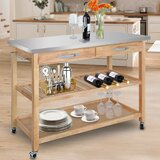 Januario Kitchen Cart with Stainless Steel Top by Winston Porter