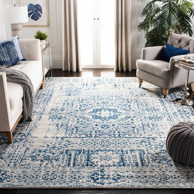 Willa Arlo Interiors Huma Oriental Blue Ivory Area Rug Reviews Wayfair