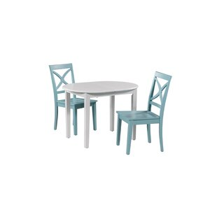 Deforest 3 Piece Extendable Solid Wood Dining Set by Highland Dunes