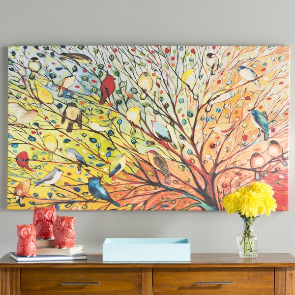 Damask Floral and Bird I Sq Giclee Stretched Canvas Artwork 30 x 30 Global Gallery Farida Zaman