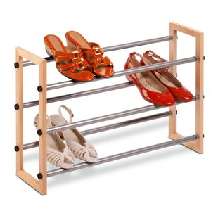 Coupon Expandable 3-Tier 15 Pair Stackable Shoe Rack By Rebrilliant
