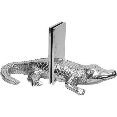Bay Isle Home 2 Piece Cast Aluminum Alligator Book End Set