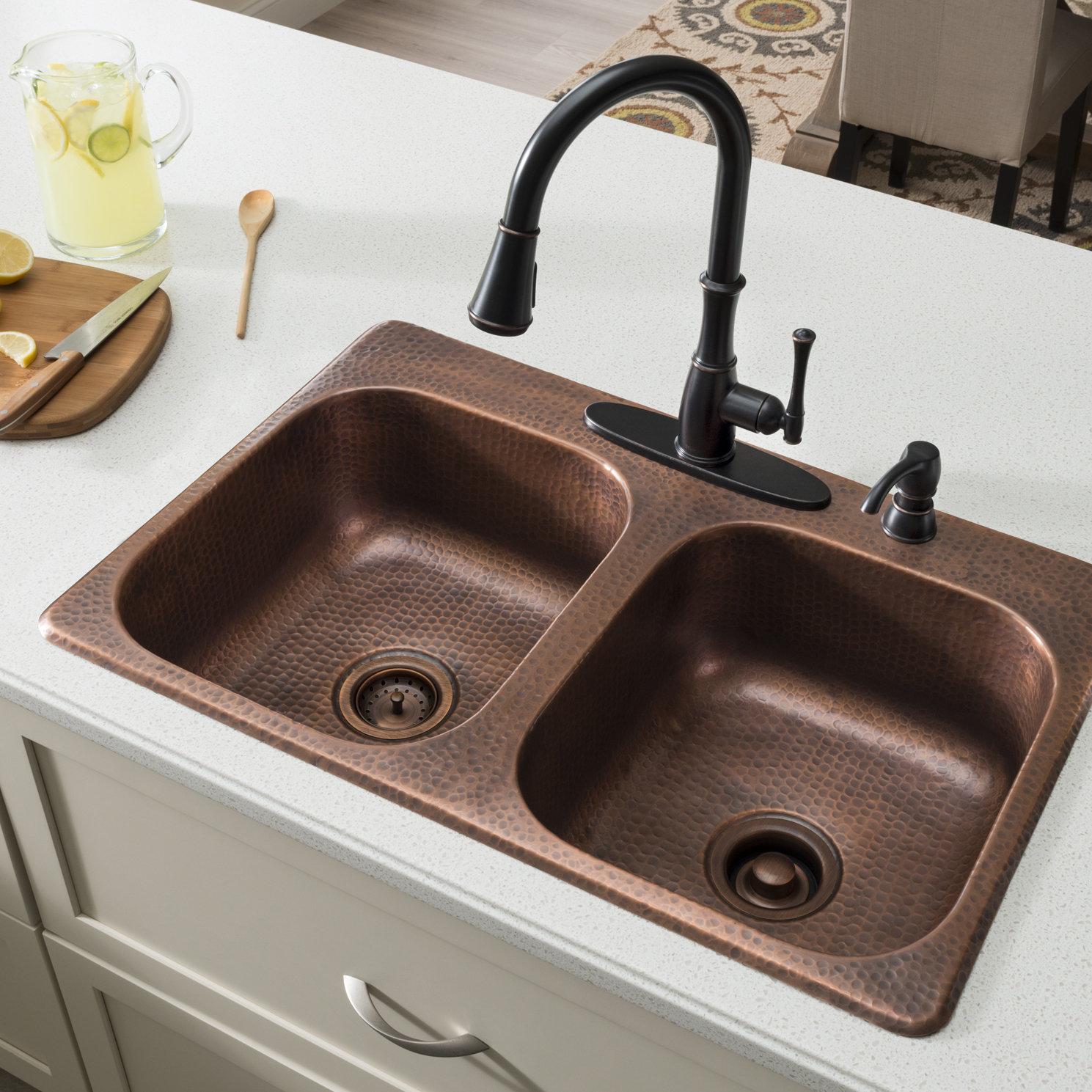 Sinkology Raphael 33 L X 22 W Double Bowl Drop In Kitchen Sink
