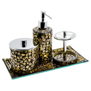 very gold mosaic bathroom accessories. Mosaic 4 Piece Bathroom Accessory Set  Blue Gold Silver Accessories Wayfair co uk