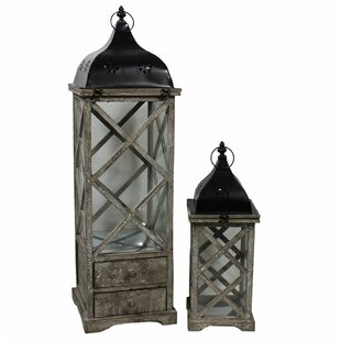 Best Reviews Wooden Lantern Set (Set of 2) By August Grove