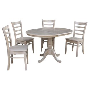 Petra Extendable Pedestal 5 Piece Solid Wood Dining Set