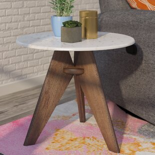 Mercury Row Koury Tall Marble and Wood End Table
