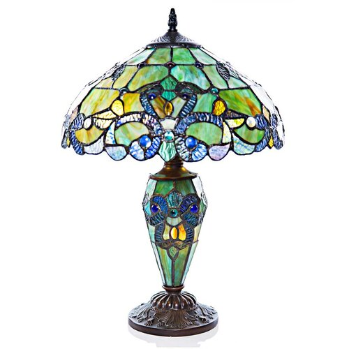 """Bloomsbury Market Richert Stained Glass Round Globe 14.9/"""" Table Lamp"""