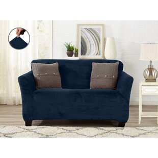 Sensational Velvet Plush Form Fit Box Cushion Loveseat Slipcover Theyellowbook Wood Chair Design Ideas Theyellowbookinfo