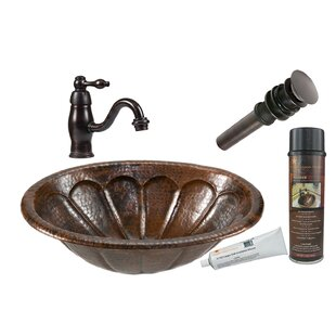 Comparison Sunburst Metal Oval Drop-In Bathroom Sink with Faucet ByPremier Copper Products