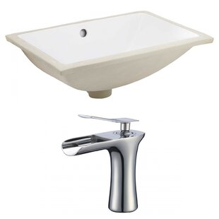 Read Reviews CUPC Ceramic Rectangular Undermount Bathroom Sink with Faucet and Overflow ByRoyal Purple Bath Kitchen