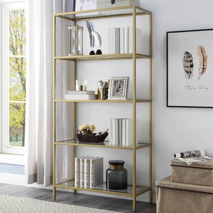 Ivy Bronx Beadnell Glass Shelves Standard Bookcase