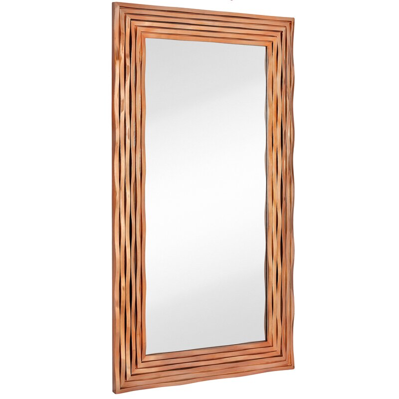 a259eb11d6b8 Majestic Mirror Large Rectangular Contemporary Wavy Polished Rose Gold  Framed Glass Wall Mirror