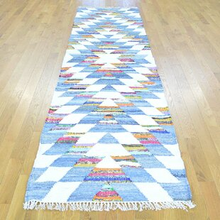 Compare One-of-a-Kind Floyd Handmade Kilim Runner 2'8 x 10' Cotton Blue/White Area Rug By Isabelline