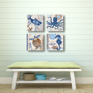'Barrier Reef Fish' 4 Piece Graphic Art on Wrapped Canvas Set