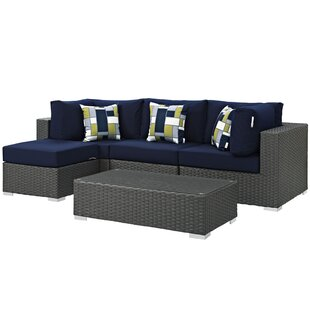 Tripp 5 Piece Rattan Sunbrella Sectional Set with Cushions