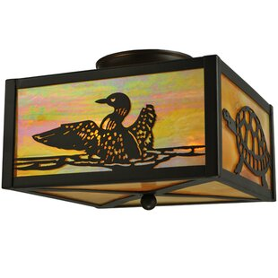 Meyda Tiffany Loons and Turtles 2-Light Flush Mount