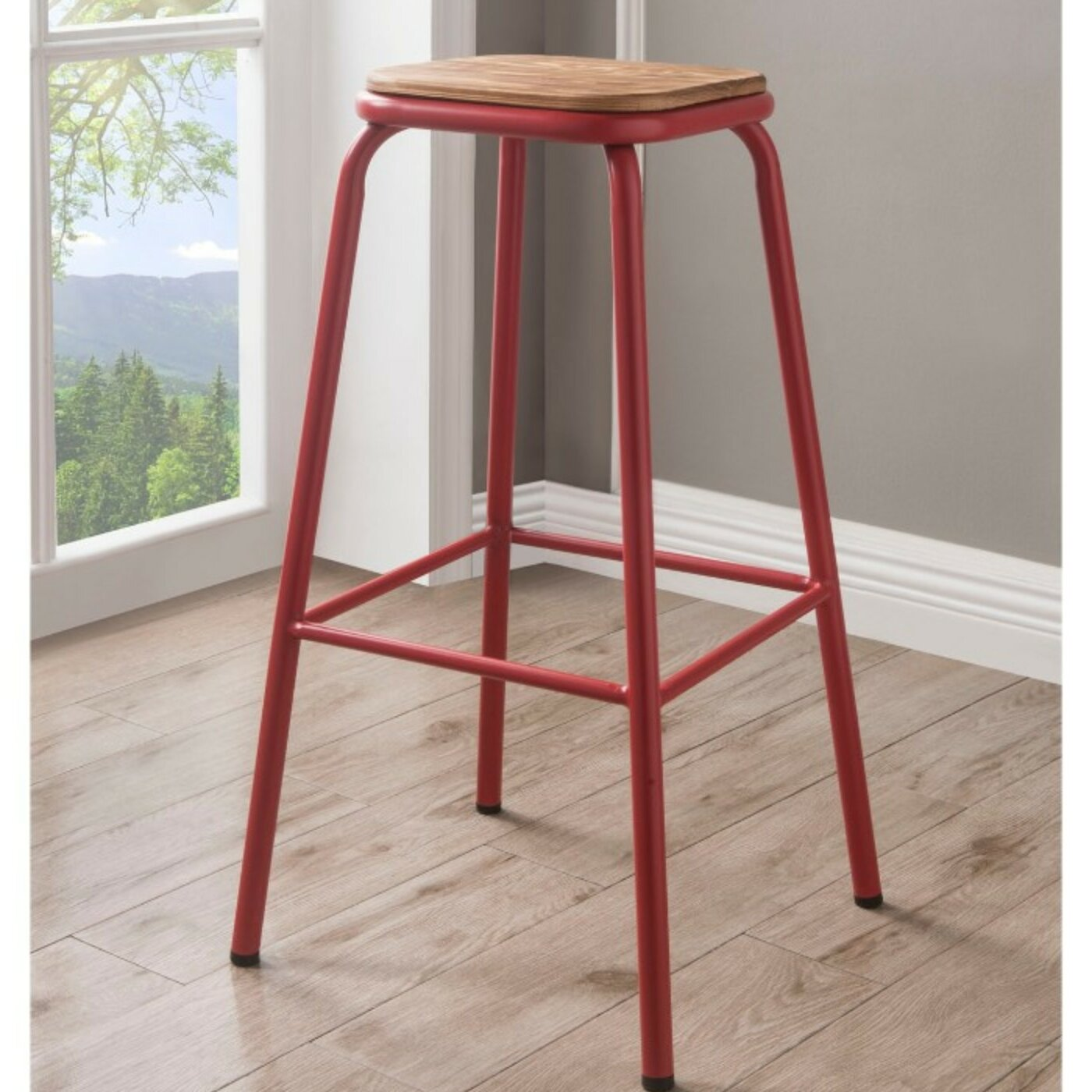 Swell Camara Industrial Metal Frame Wooden Bar Stool Evergreenethics Interior Chair Design Evergreenethicsorg