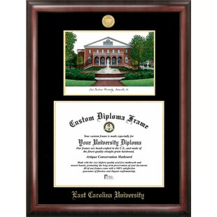 NCAA East Carolina Pirates Gold Embossed Diploma with Campus Images Lithograph Frame By Campus Images