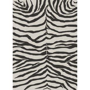 Affordable Zebra Safari Black Indoor/Outdoor Area Rug By Ruggable