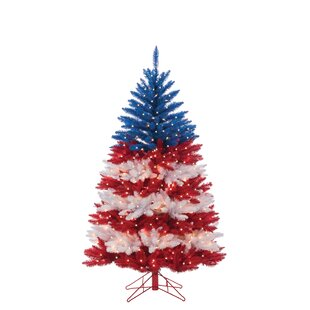 patriotic american artificial redblue christmas tree with clear white lights with stand - American Sales Christmas Trees