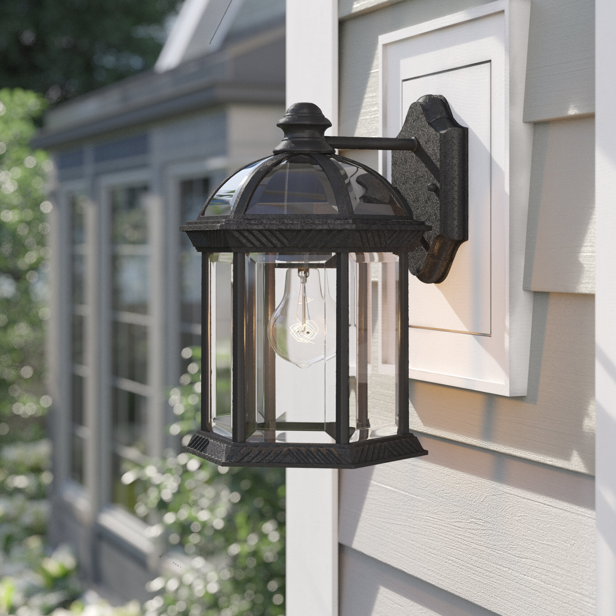 Three Posts Affric Glass Outdoor Wall Lantern Reviews Wayfair