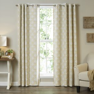 Marley Trellis Window Geometric Semi-Sheer Grommet Single Curtain Panel
